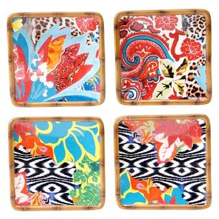 Tracy Porter for Poetic Wanderlust 'Magpie' Earthenware Assorted 6-inch Canape Plates (Set of 4)