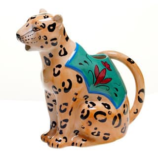 Tracy Porter for Poetic Wanderlust 'Magpie' 3-D Leopard Earthenware Pitcher|https://ak1.ostkcdn.com/images/products/14328018/P20907359.jpg?impolicy=medium