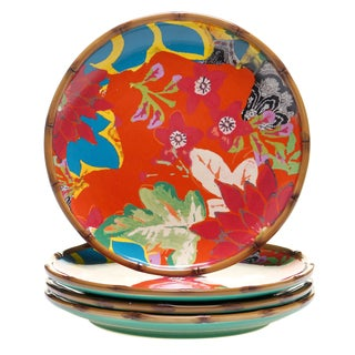 Tracy Porter for Poetic Wanderlust 'Magpie' Multicolor Stoneware 10.5-inch Dinner Plate (Pack of 4)