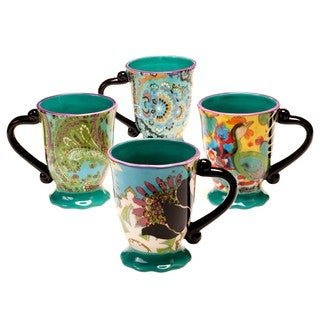Tracy Porter for Poetic Wanderlust 'Rose Boheme' 16-ounce Mugs (Set of 4)