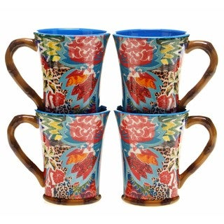 Tracy Porter for Poetic Wanderlust 'Magpie' Multicolored Earthenware 18-ounce Mugs (Set of 4)