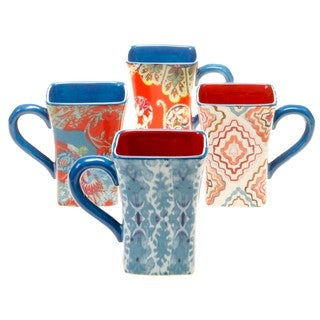 Tracy Porter for Poetic Wanderlust 'French Meadows' Earthenware 14-ounce Mugs (Pack of 4)