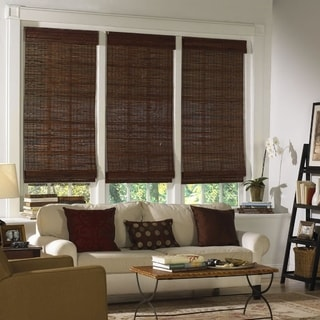 Radiance, Kona Collection Bamboo Roman Shade Mahogany Finish
