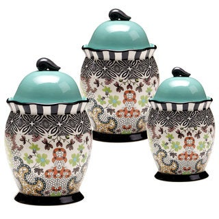 Tracy Porter for Poetic Wanderlust 'Rose Boheme' Multicolored Earthenware Canisters (Set of 3)