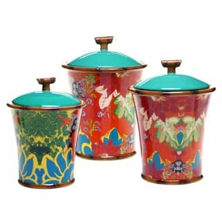 Tracy Porter for Poetic Wanderlust 'Magpie' Multicolored Earthenware Canisters (Set of 3) https://ak1.ostkcdn.com/images/products/14328069/P20907414.jpg?impolicy=medium