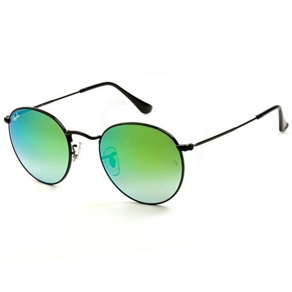43d6b284a90 Ray-Ban Round RB3447 002 4J Black Frame Green Gradient Flash Lens Sunglasses