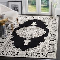 Safavieh Hand-woven Marbella Ornate Black/ Ivory Chenille Rug - 4' x 6'