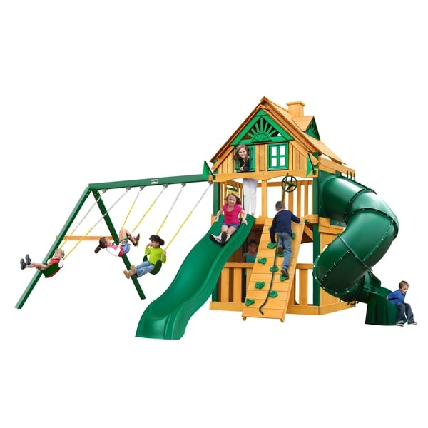 Gorilla Playsets Mountaineer Clubhouse Treehouse Cedar Swing Set with Timber Shield Posts
