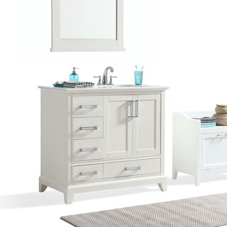 WYNDENHALL Atwood 36-inch Offset White Bath Vanity with White Quartz Marble Top