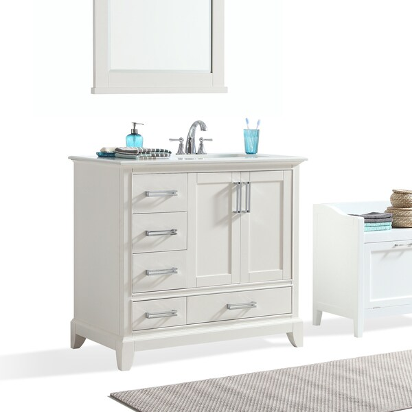 Wyndenhall Atwood 36 Inch Offset White Bath Vanity With Quartz Marble Top