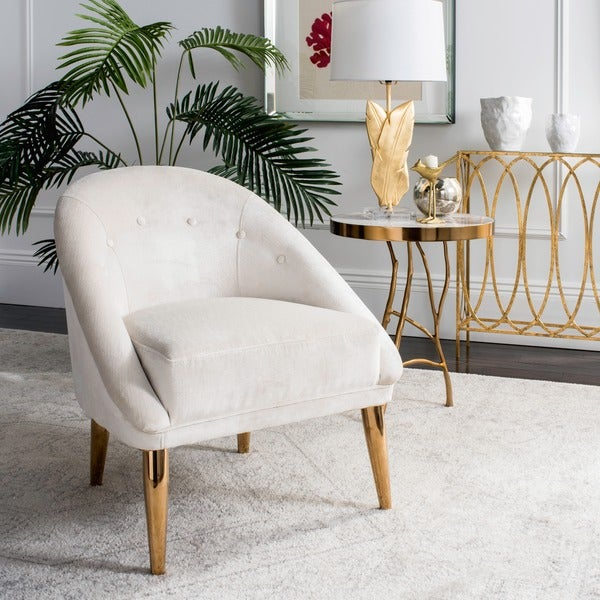 Safavieh Couture High Line Collection Hopkins Velvet Cream Club Chair With  Gold Legs