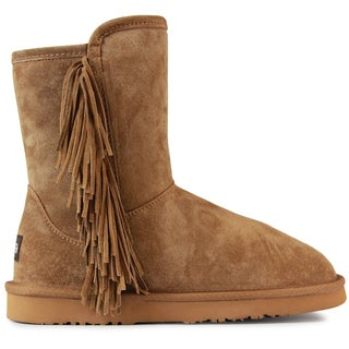 Lamo Women's Sellas Brown Suede Mid-calf Boots with Faux-fur Lining