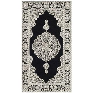 "Safavieh Hand-woven Marbella Ornate Black/ Ivory Chenille Rug - 2'3"" x 4'"