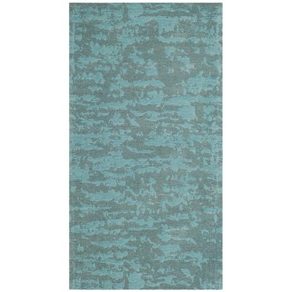 Safavieh Hand-Woven Marbella Flatweave Blue / Turquoise Chenille Rug (2' x 4')