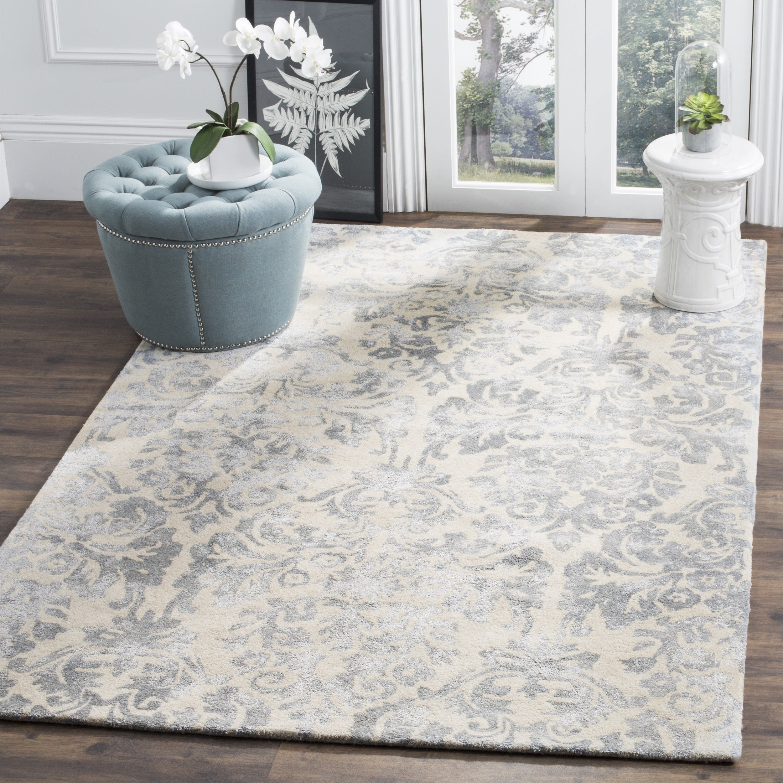 2a8ab84ee Safavieh Bella Hand-Woven Wool Ivory   Silver Area Rug - 5  X 5  Square
