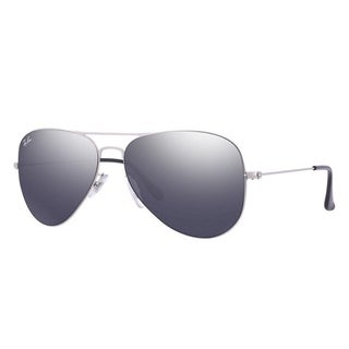 Ray-Ban RB3513 154/6G Aviator Flat Metal Silver Frame Grey Mirror 58mm Lens Sunglasses