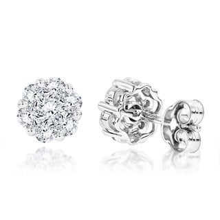 Luxurman 14k White Gold 1/2ct TDW Cluster Stud Earrings (H-I, SI1-SI2)