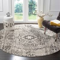 Safavieh Evoke Vintage Ivory / Black Center Medallion Distressed Rug - 6' 7 Round