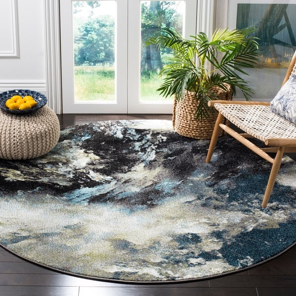 Safavieh Glacier Contemporary Abstract Blue/ Multi Area Rug - 6' 7 Round