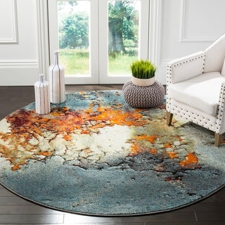 Safavieh Glacier Abstract Watercolor Blue/ Multi Area Rug (6' 7 Round)