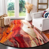 Safavieh Glacier Contemporary Abstract Red/ Multi Area Rug - 6' 7 Round