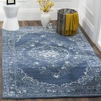 Safavieh Handmade Glamour Contemporary Bohemian Blue Viscose Rug - 6' x 6' Square
