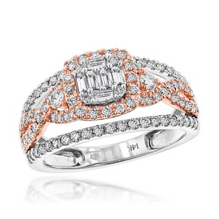 Luxurman Unique 14k White and Rose Gold 1ct TDW Diamond Halo Engagement Ring (H-I, SI1-SI2)