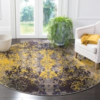 "Safavieh Monaco Abstract Vintage Grey / Multi Distressed Rug - 6'7"" x 6'7"" round"