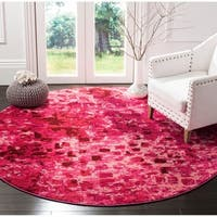 Safavieh Monaco Abstract Watercolor Fuchsia Distressed Rug - 6' 7 Round