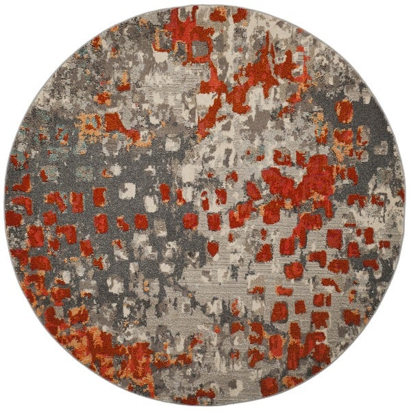 Wonderful Safavieh Monaco Abstract Watercolor Grey / Orange Distressed Rug (6u0026#x27; 7  Round