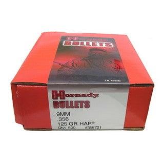 "Hornady 9mm Bullets .356"" 125 Gr, HAP/500"