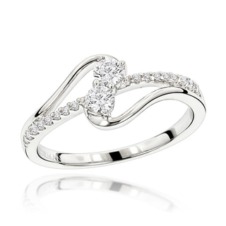 Luxurman 14k White Gold 1ct TDW Diamond 2 Stone Ring (H-I, SI1-SI2)