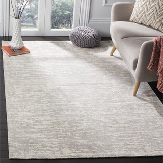 Safavieh Hand-Woven Marbella Flatweave Light Grey / Ivory Chenille Rug (6' Square)