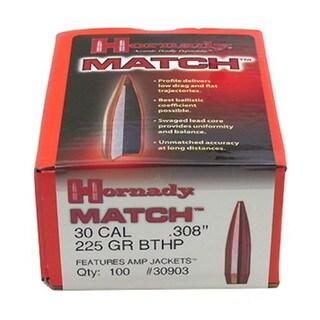 """Hornady 30 Caliber Bullets .308"""" 225 Gr BTHP Match/100"""