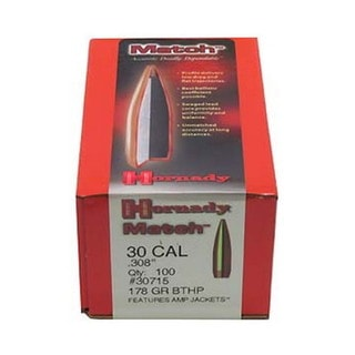 """Hornady 30 Caliber Bullets .308"""" 178gr BTHP Match /100"""