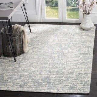 Safavieh Hand-Woven Marbella Flatweave Blue / Ivory Chenille Rug (6' Square)