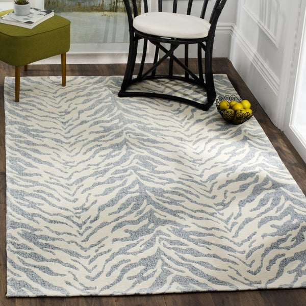 Safavieh Hand-Woven Marbella Flatweave Blue / Ivory Chenille Rug - 6' x 6' Square