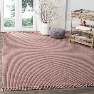 Safavieh Hand-Woven Montauk Flatweave Ivory / Red Cotton Rug (6' Square)