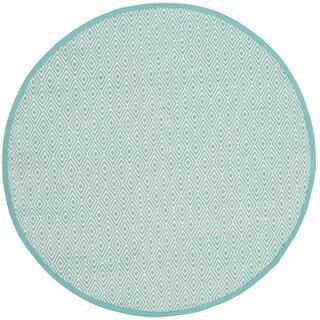 Safavieh Handmade Flatweave Montauk Eliina Casual Cotton Rug (4 x 4 Round - Ivory/Aqua)