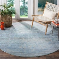 Safavieh Mystique Watercolor Serene Blue/ Multi Silky Rug (6' 7 Round)