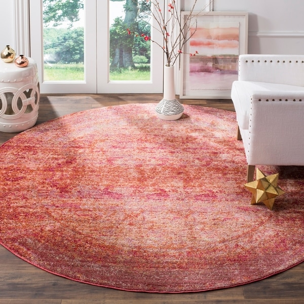 Safavieh Mystique Watercolor Fuchsia Pink/ Multi Silky Rug - 6' 7 Round