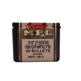 Barnes Bullets TAC-X 7.62x39mm, 108 Grain,  Hollow Point Boat Tail,Multi-purpose Green, Per 50