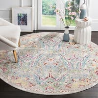 Safavieh Mystique Watercolor Grey Light Blue Silky Rug - 6' 7 Round