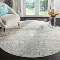 "Safavieh Mystique Watercolor Teal/ Multi Silky Rug - 6'7"" x 6'7"" Round"