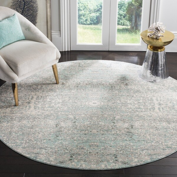 Safavieh Mystique Watercolor Teal/ Multi Silky Rug (6' 7 Round)