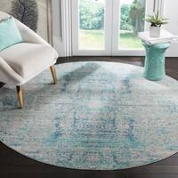 Safavieh Mystique Watercolor Light Blue/ Multi Silky Rug - 6' 7 Round