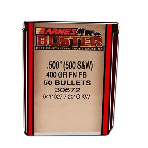 Barnes Bullets Buster 500 S&W, 400 Grain, Flat Nose Flat Base, Per 50