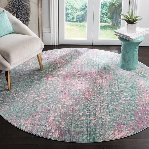 Safavieh Mystique Watercolor Blue/ Multi Silky Rug - 6' 7 Round