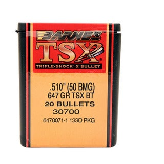 Barnes Bullets Triple-Shock X 50 BMG, 647 Grain,  Boat Tail, Per 20