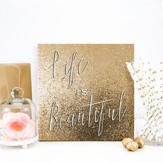 Wynwood Studio 'Life is Beautiful' Gold Glitter Canvas Art